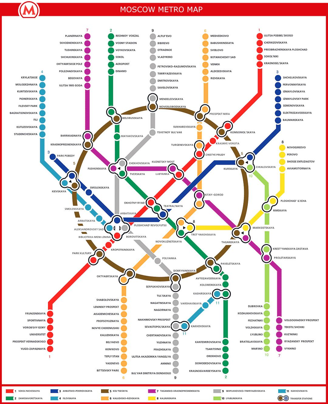 Detailed metro map of Moscow city