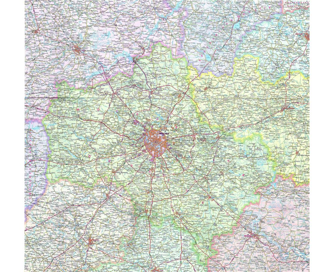 Maps Of Moscow Detailed Map Of Moscow In English And Russian - Detailed map of russia