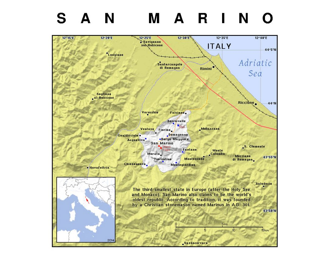 Detailed political map of San Marino with relief