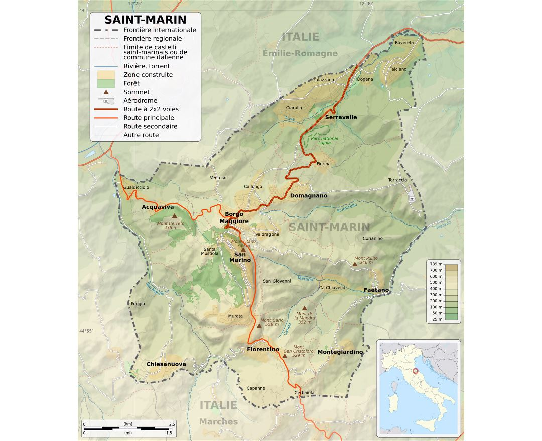 Large detailed physical map of San Marino with roads, cities and other marks in french