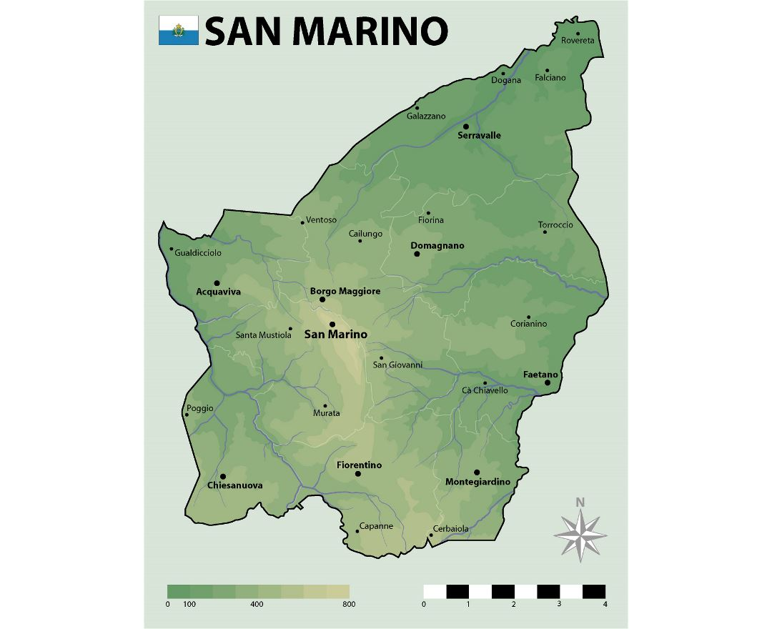 Large elevation map of San Marino with cities