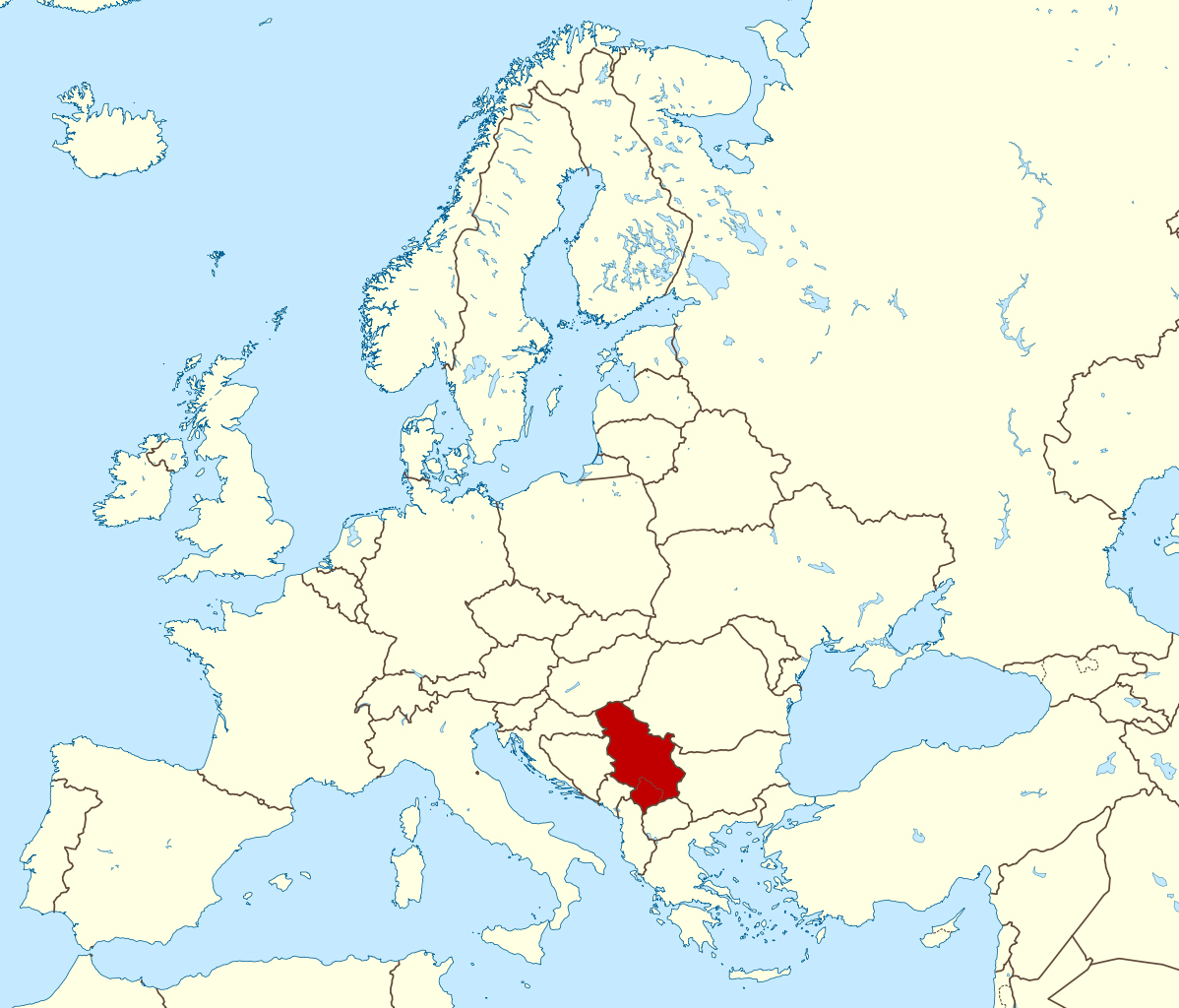 Picture of: Detailed Location Map Of Serbia In Europe Serbia Europe Mapsland Maps Of The World
