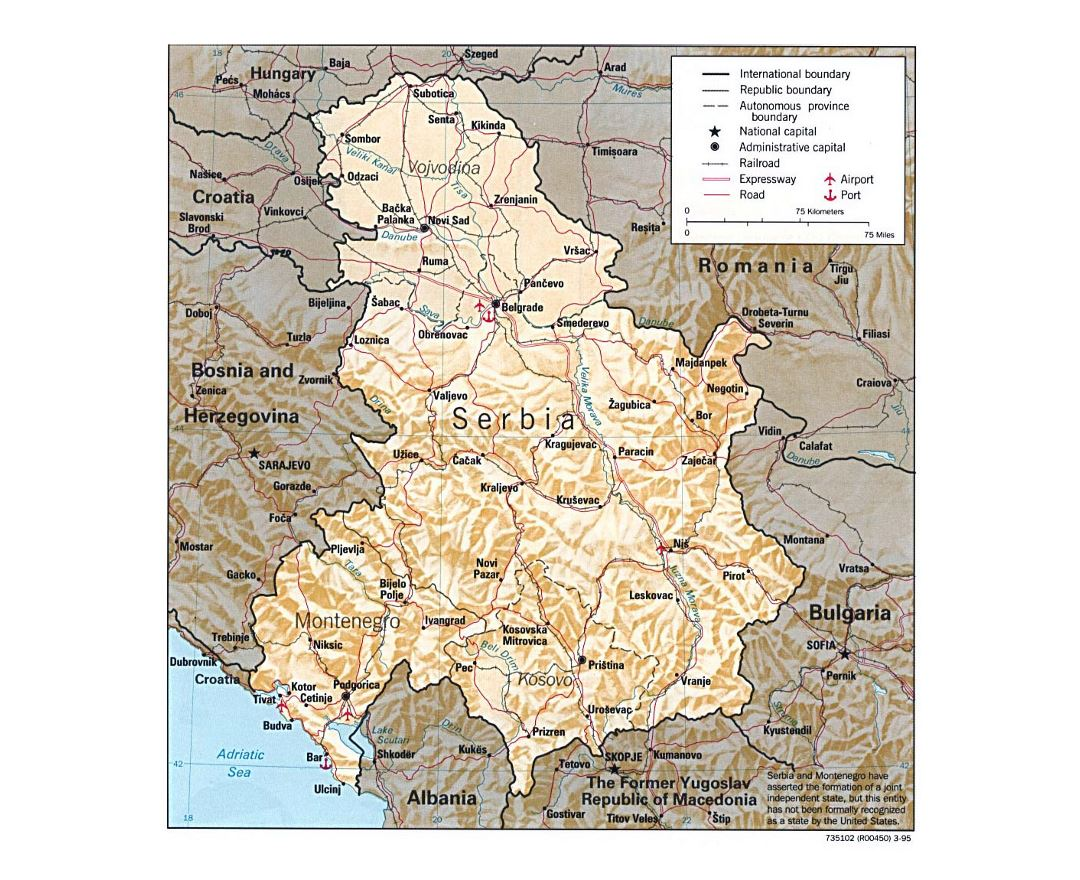 Detailed political map of Serbia and Montenegro with relief, roads, railroads and major cities - 1995