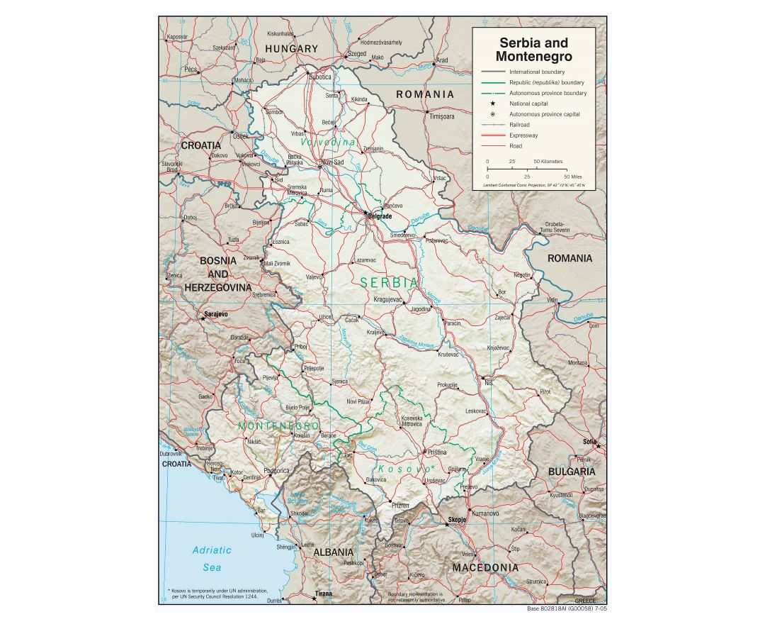 Large detailed political map of Serbia and Montenegro with relief, roads, railroads and major cities - 2005