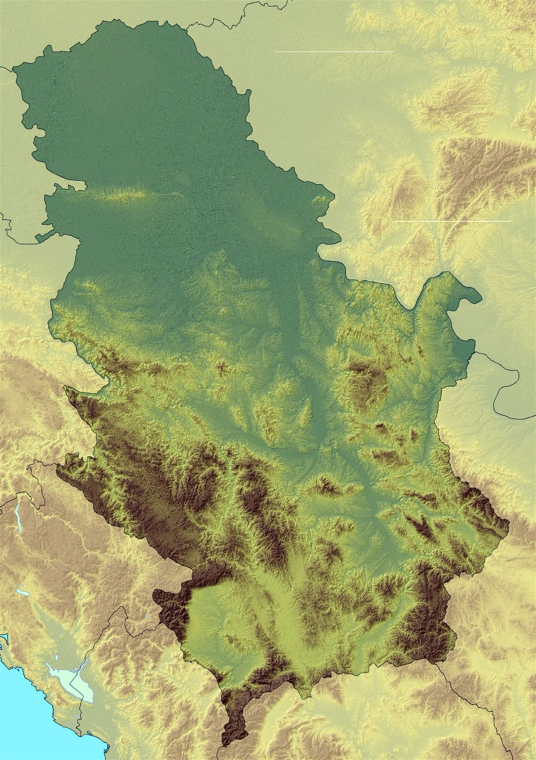 Large detailed relief map of Serbia