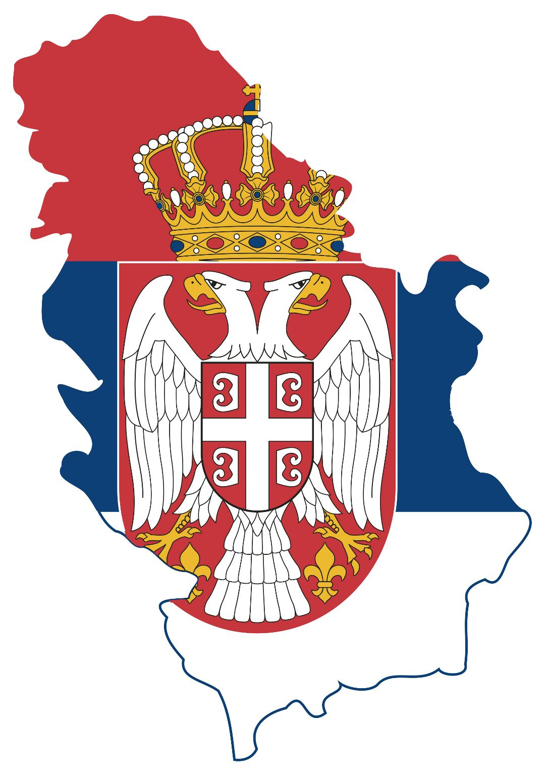 Large flag map of Serbia