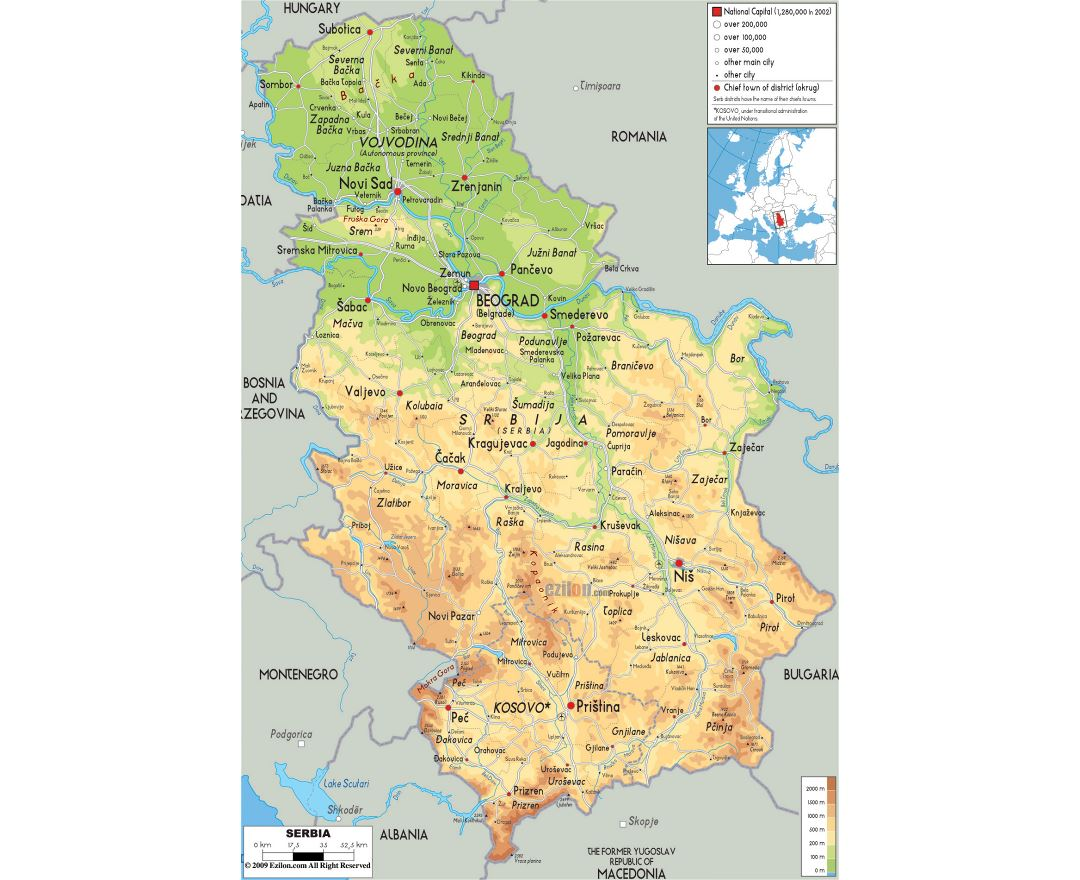 Maps Of Serbia Detailed Map Of Serbia In English Tourist Map - Albania physical map