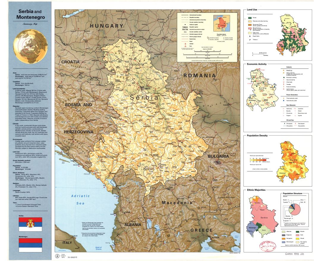 Large scale detailed summary map of Serbia and Montenegro - 1993