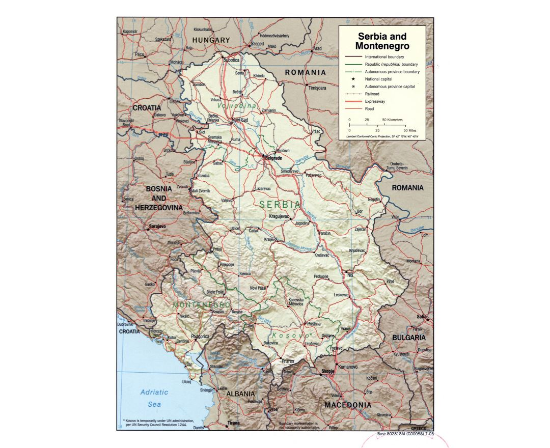 Large scale political map of Serbia and Montenegro with relief, roads, railroads and major cities - 2005