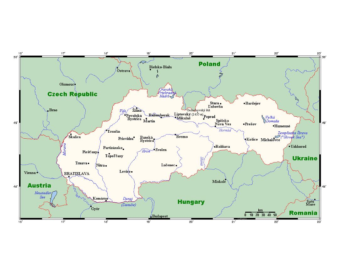Detailed map of Slovakia with major cities