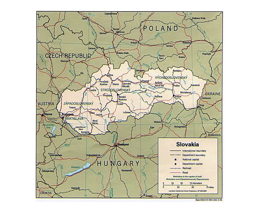Detailed political and administrative map of Slovakia - 1994