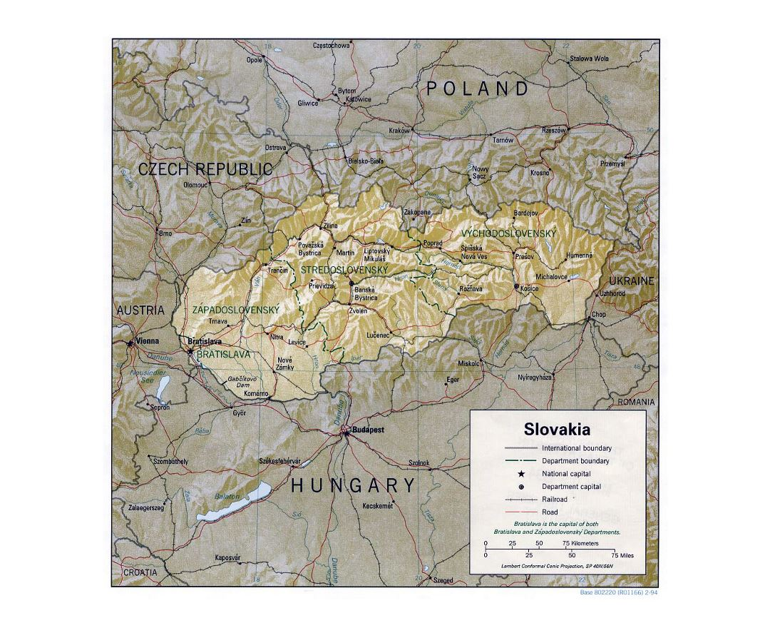 Detailed political and administrative map of Slovakia with relief - 1994