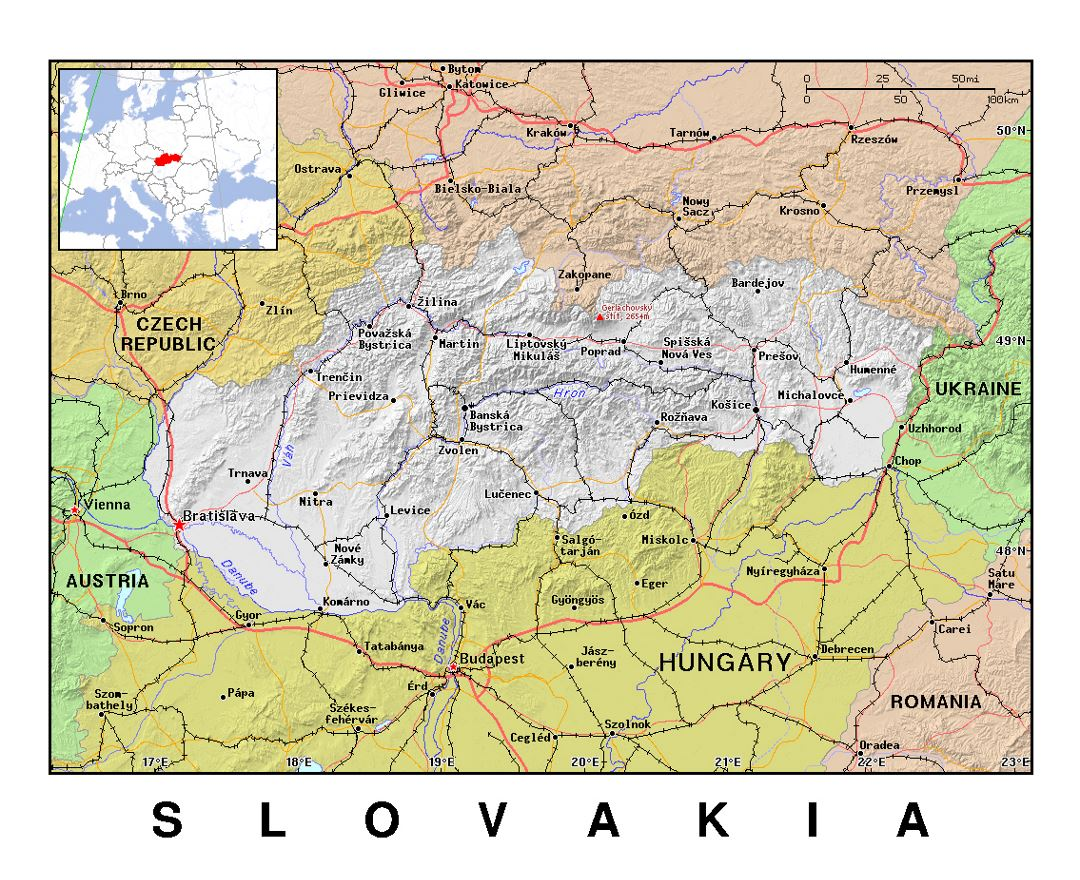 Detailed political map of Slovakia with relief