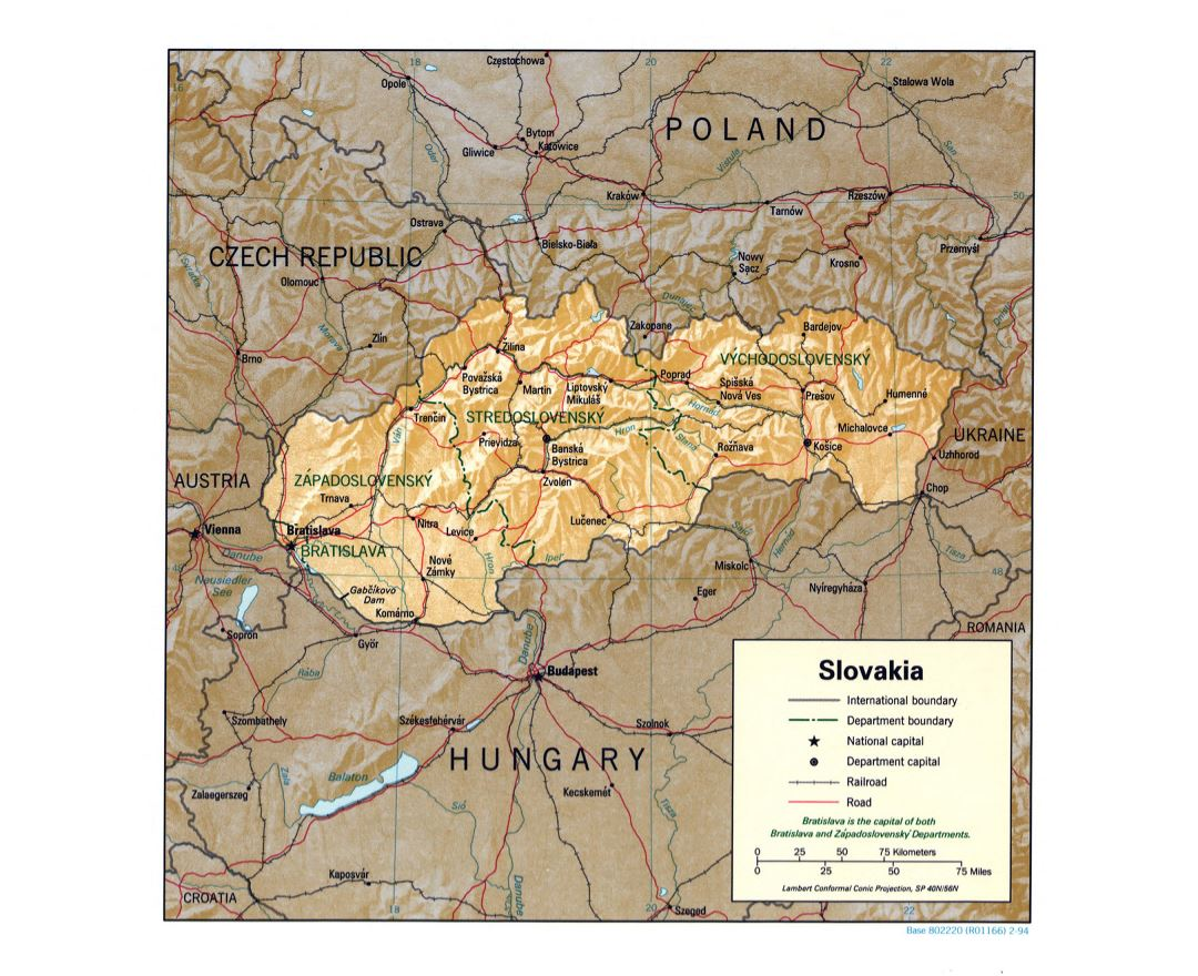 Large detailed political and administrative map of Slovakia with relief, roads, railroads and major cities - 1994