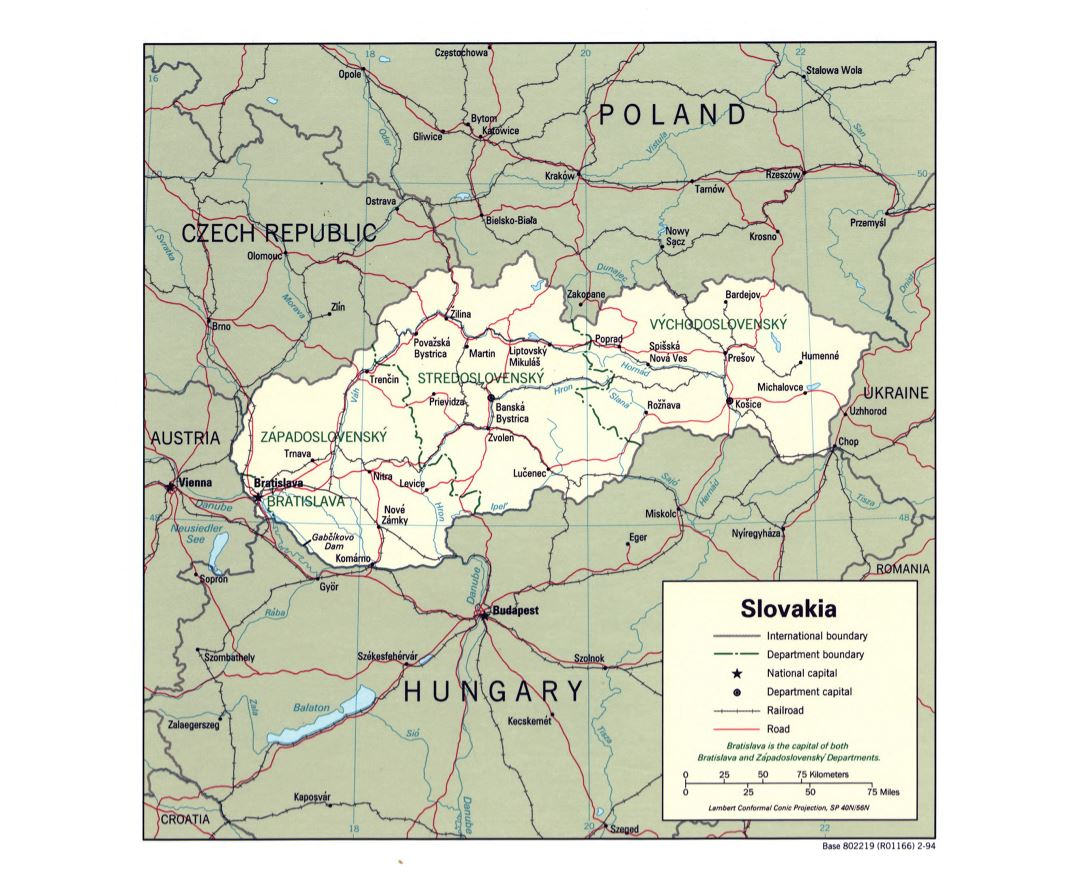 Large detailed political and administrative map of Slovakia with roads, railroads and major cities - 1994
