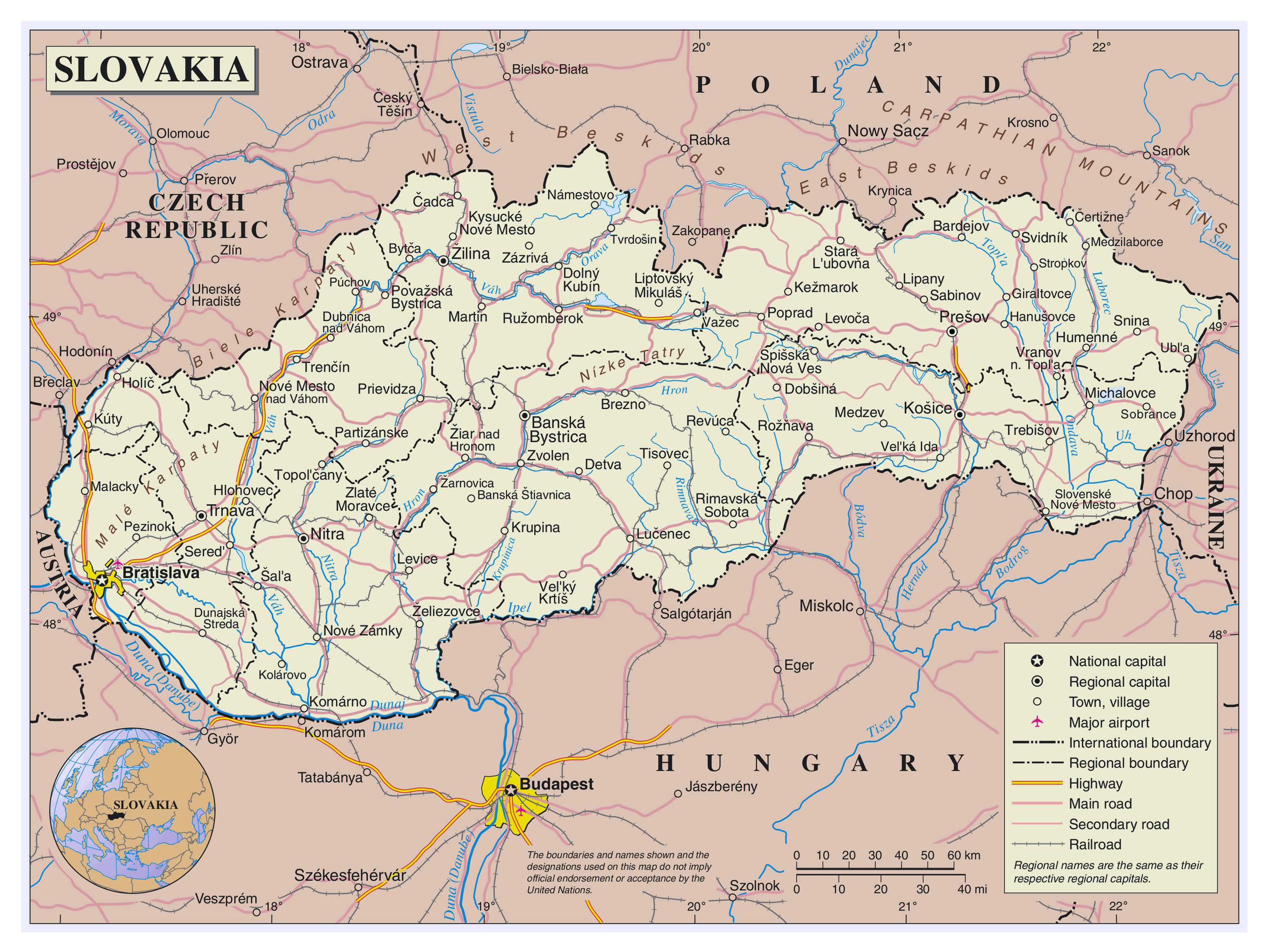 Large Detailed Political And Administrative Map Of Slovakia With