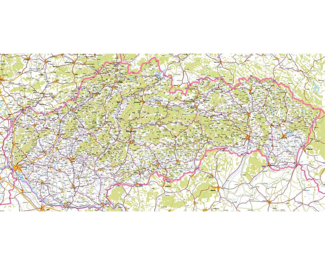 Large detailed road map of Slovakia with cities and villages