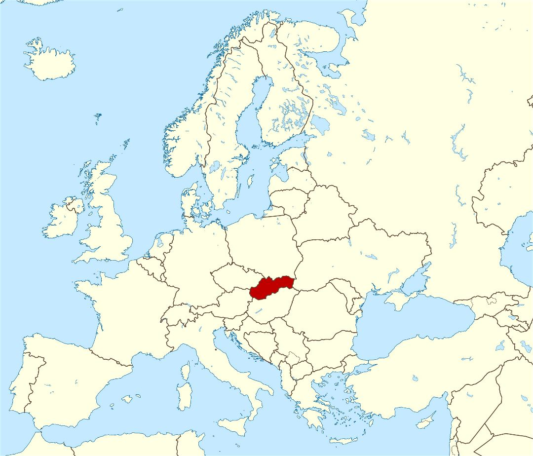 Large location map of Slovakia in Europe