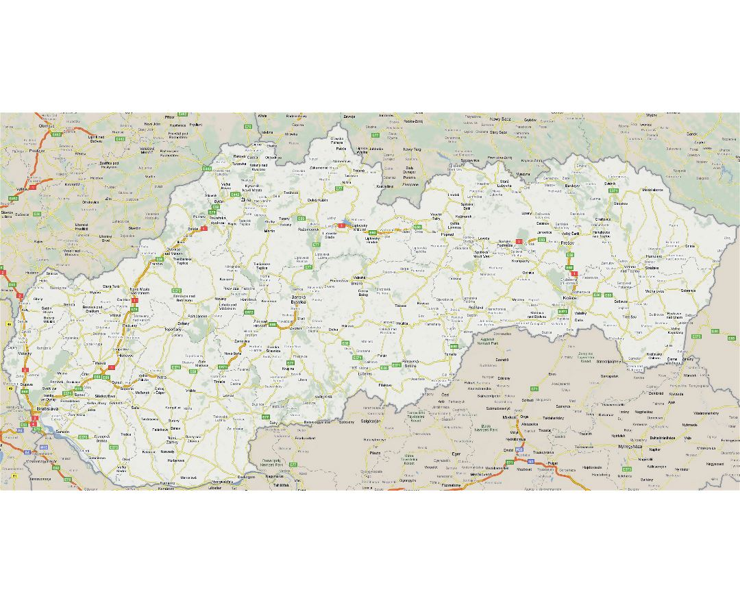 Large road map of Slovakia with cities