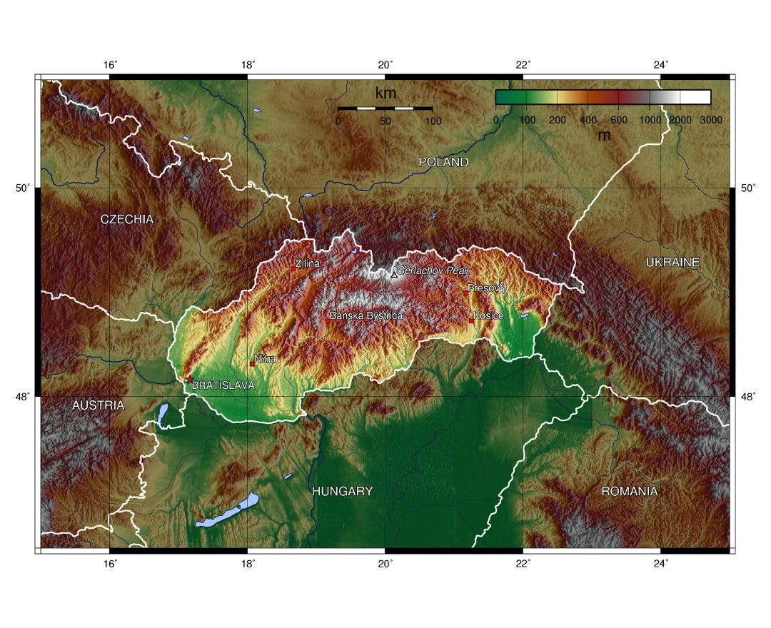 Large topographical map of Slovakia and neighboring countries