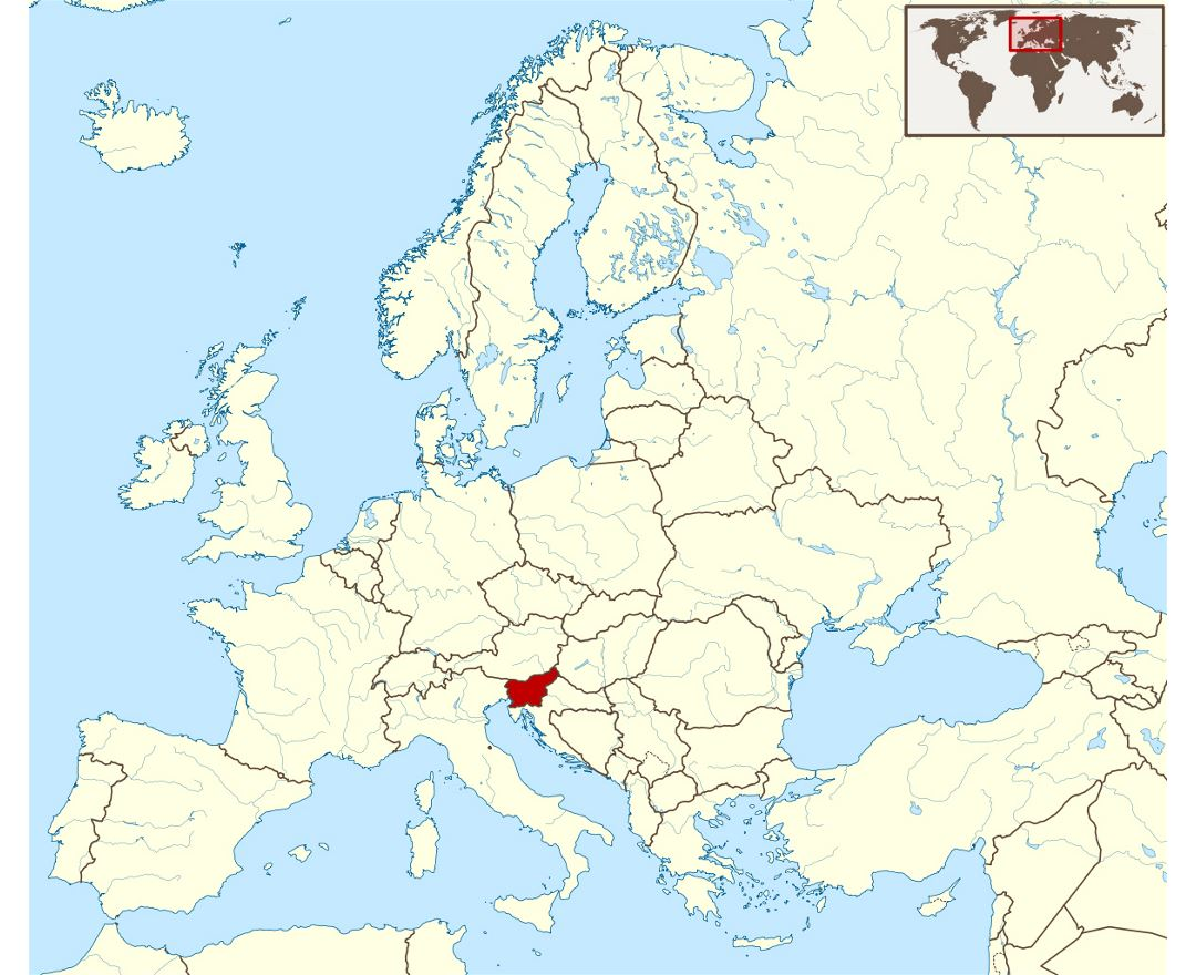 Detailed location map of Slovenia in Europe