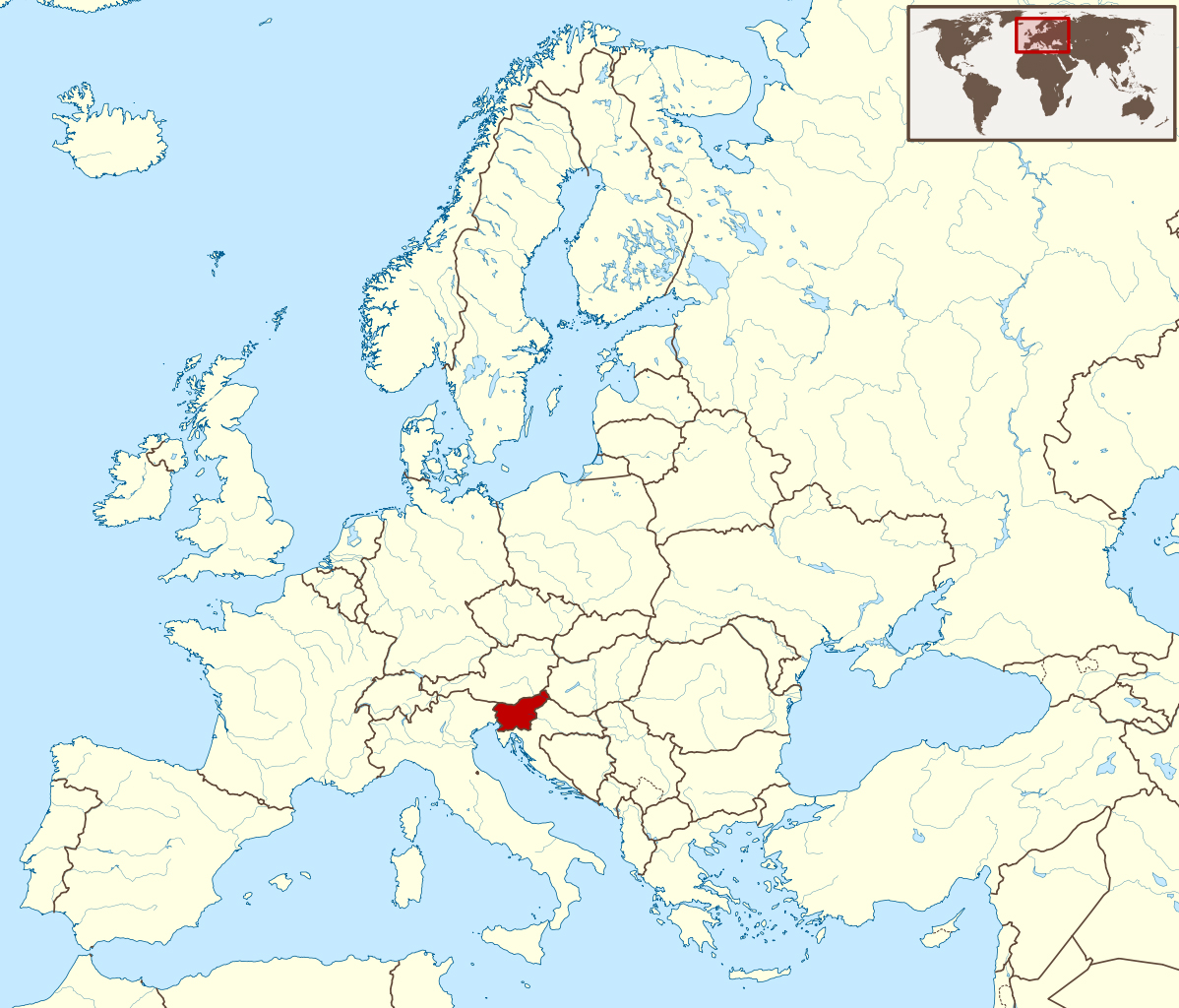 Detailed location map of Slovenia in Europe Slovenia Europe