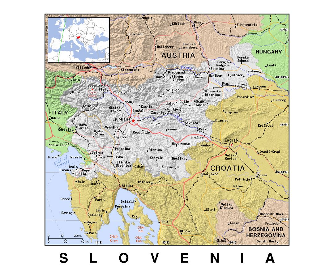 Detailed political map of Slovenia with relief