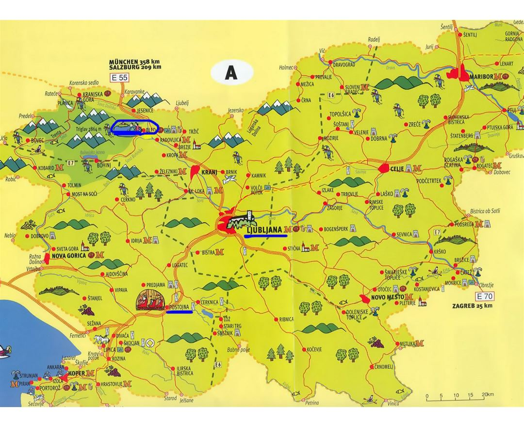 Detailed tourist map of Slovenia