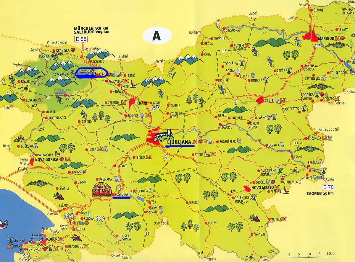 Detailed tourist map of Slovenia Slovenia Europe Mapsland