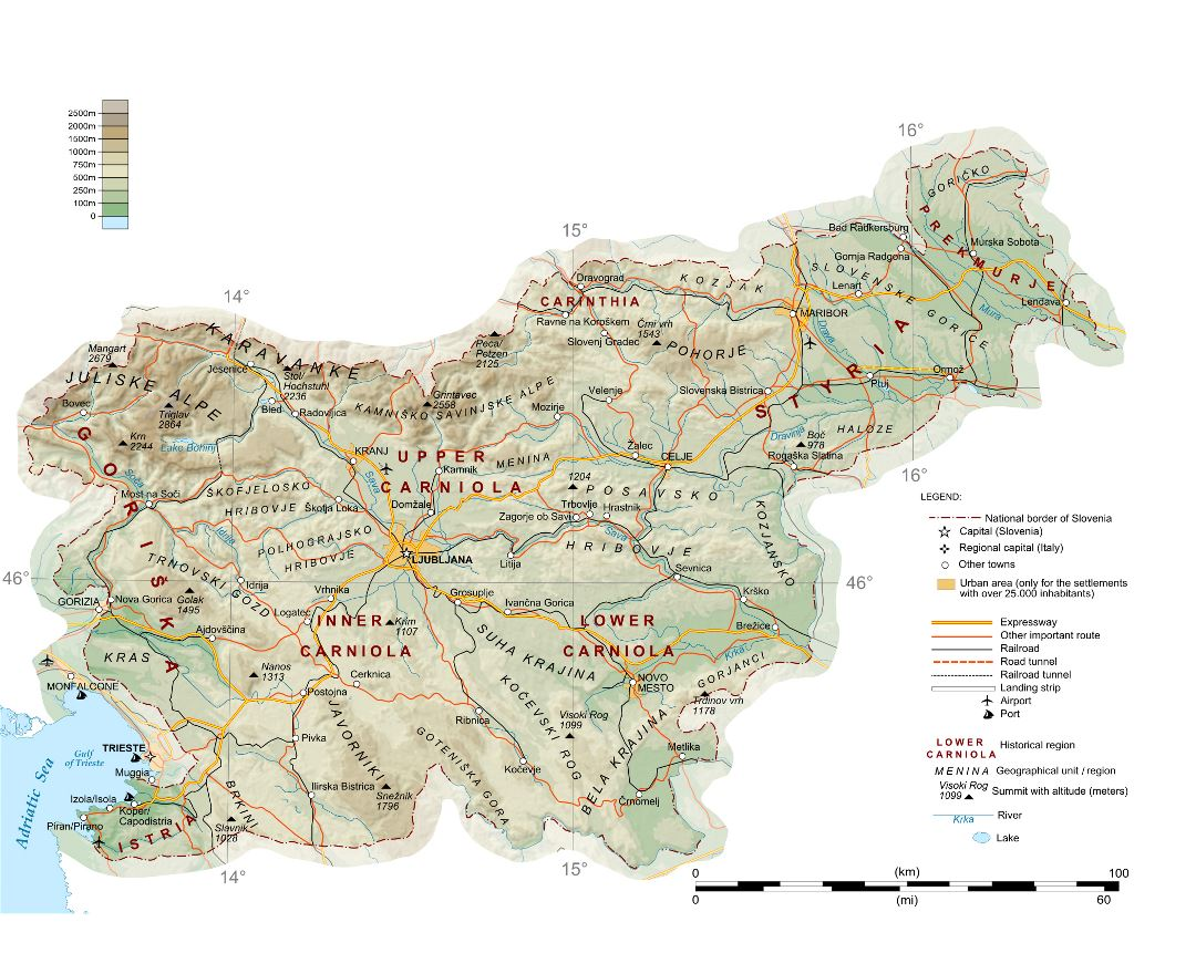 Large detailed physical map of Slovenia with roads, railroads, cities, ports and airports