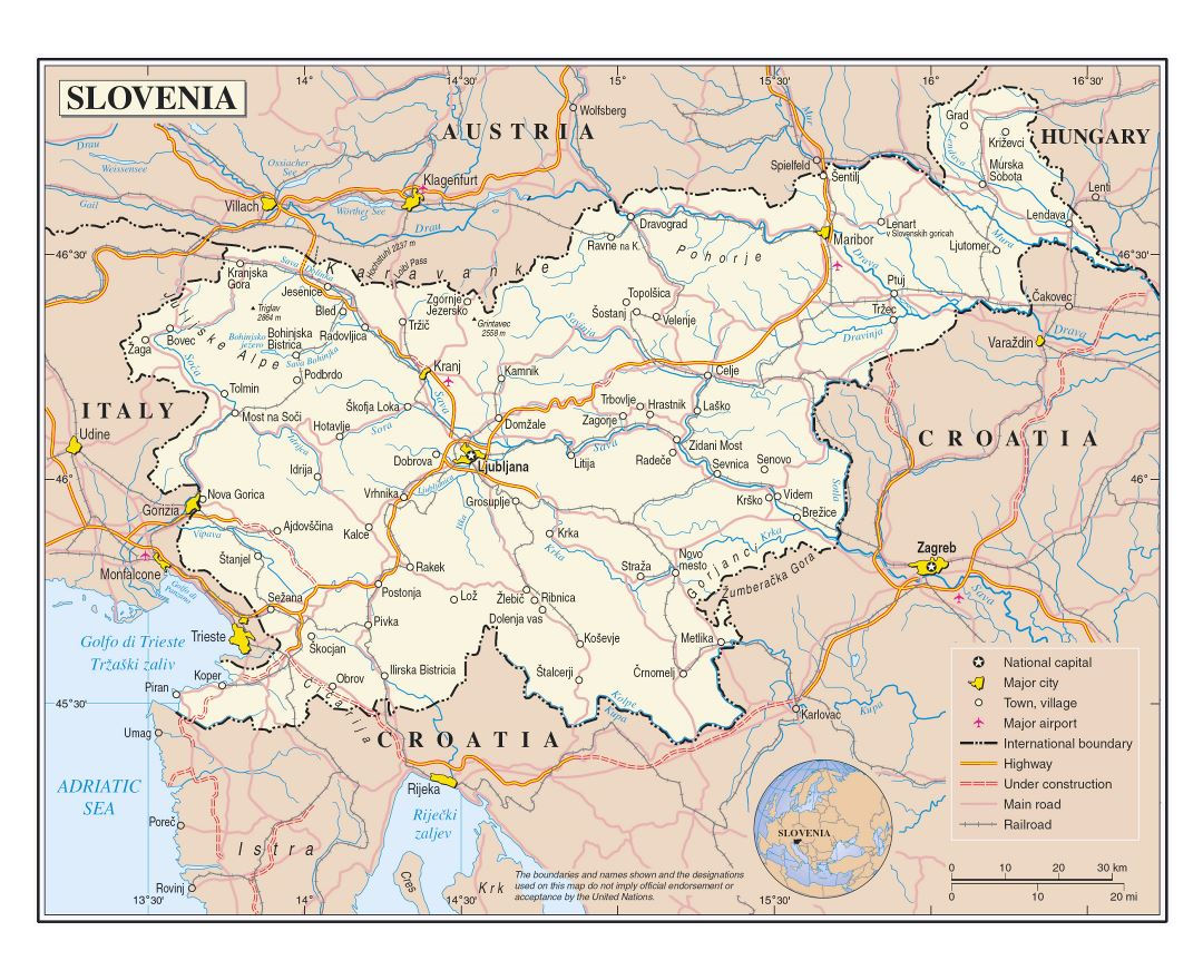 Large detailed political map of Slovenia with roads, railroads, cities and airports