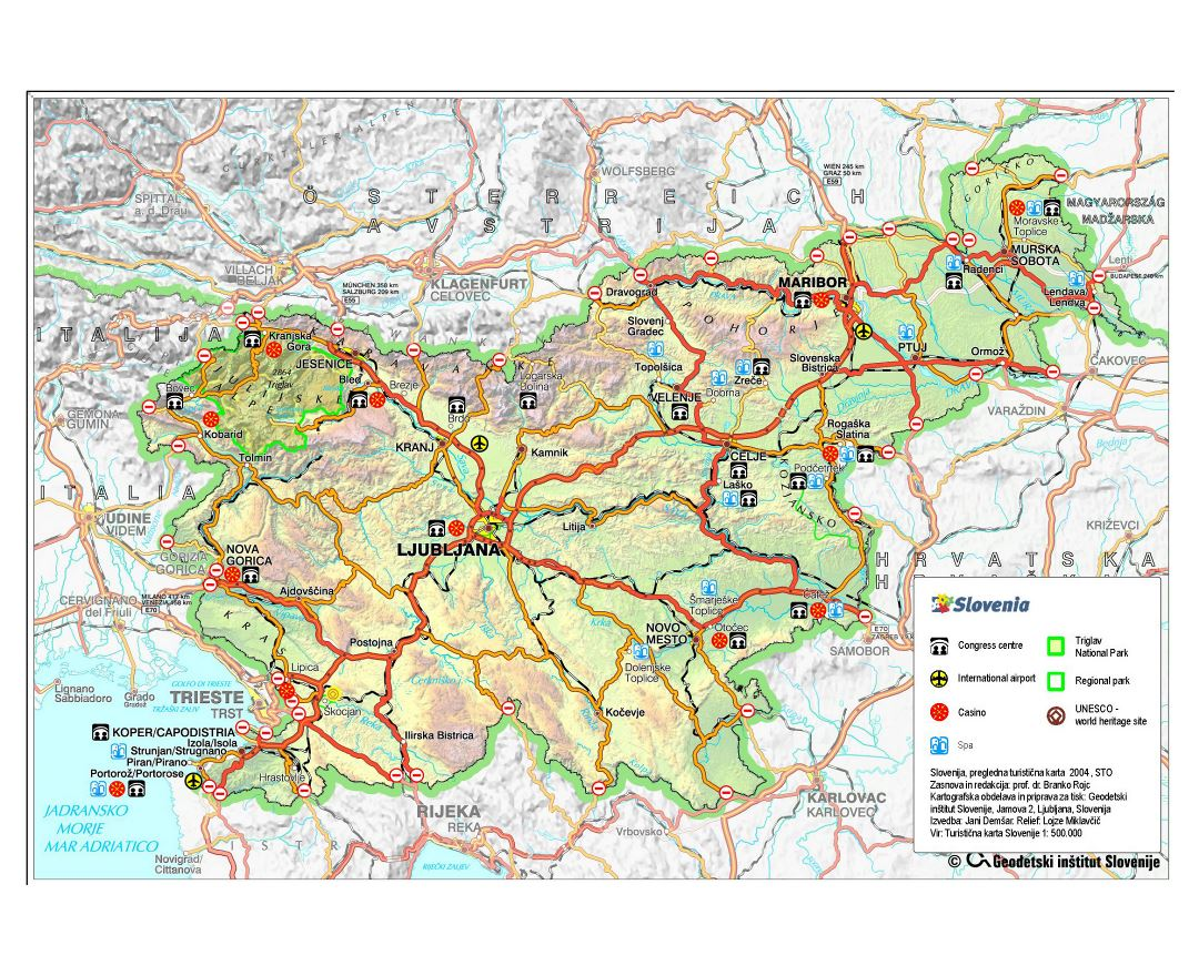 Large detailed road and travel map of Slovenia with relief