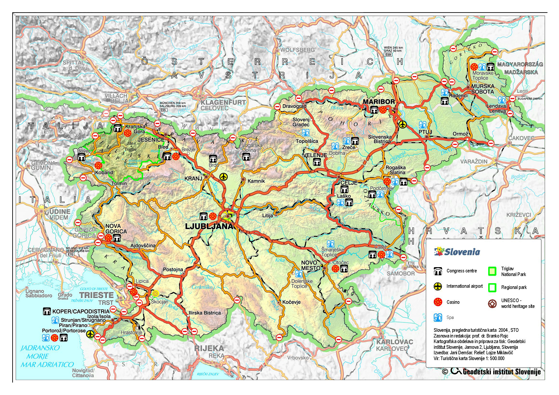 Large detailed road and travel map of Slovenia with relief – Detailed Travel Map Of Europe