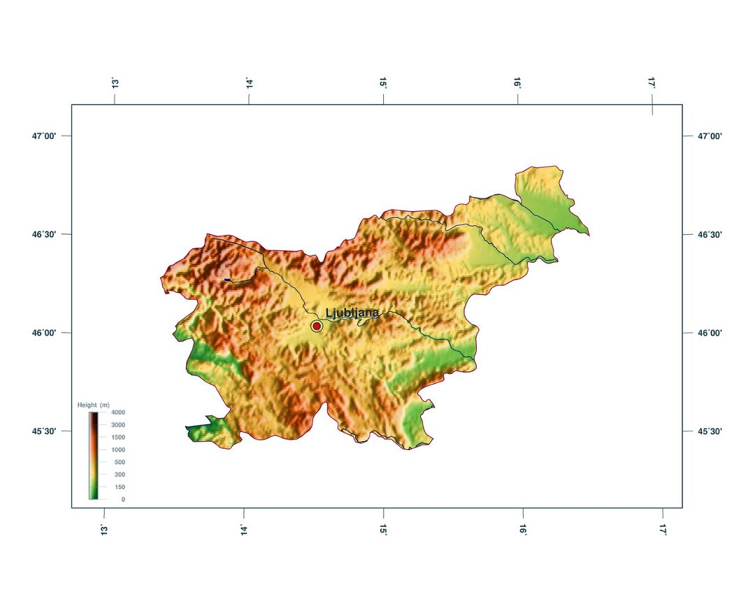 Large elevation map of Slovenia