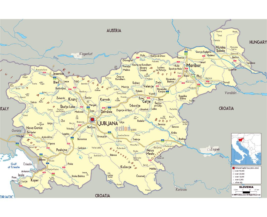 Large political map of Slovenia with roads, cities and airports