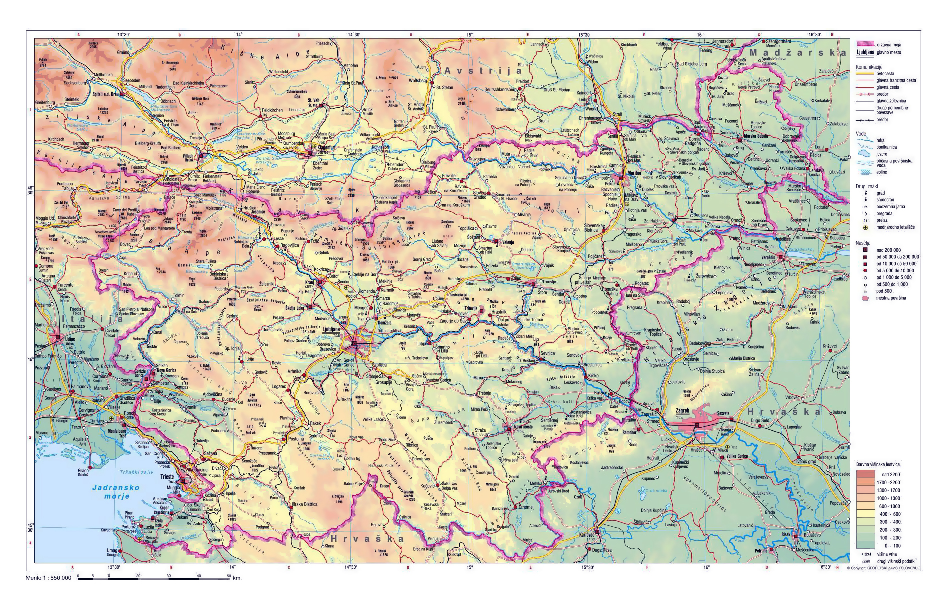 Physical Map Of Slovenia With Roads And Cities Slovenia Europe - Map od
