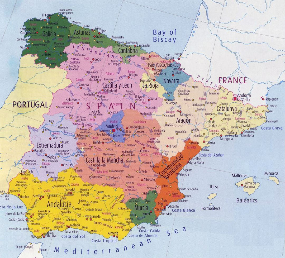 Administrative map of Spain with major cities