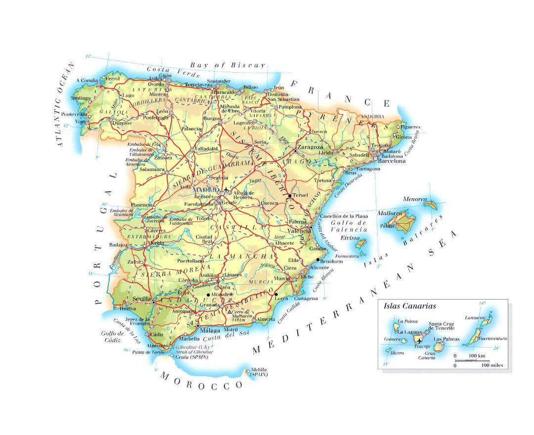 Detailed elevation map of Spain with roads, major cities and airports