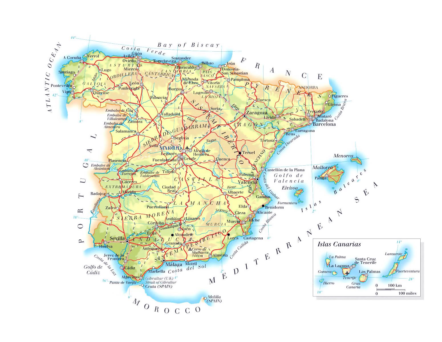 Map Of Spain Showing Airports.Detailed Elevation Map Of Spain With Roads Major Cities And