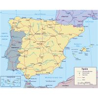 Topographical Map Of Spain.Large Topographical Map Of Spain Spain Europe Mapsland Maps