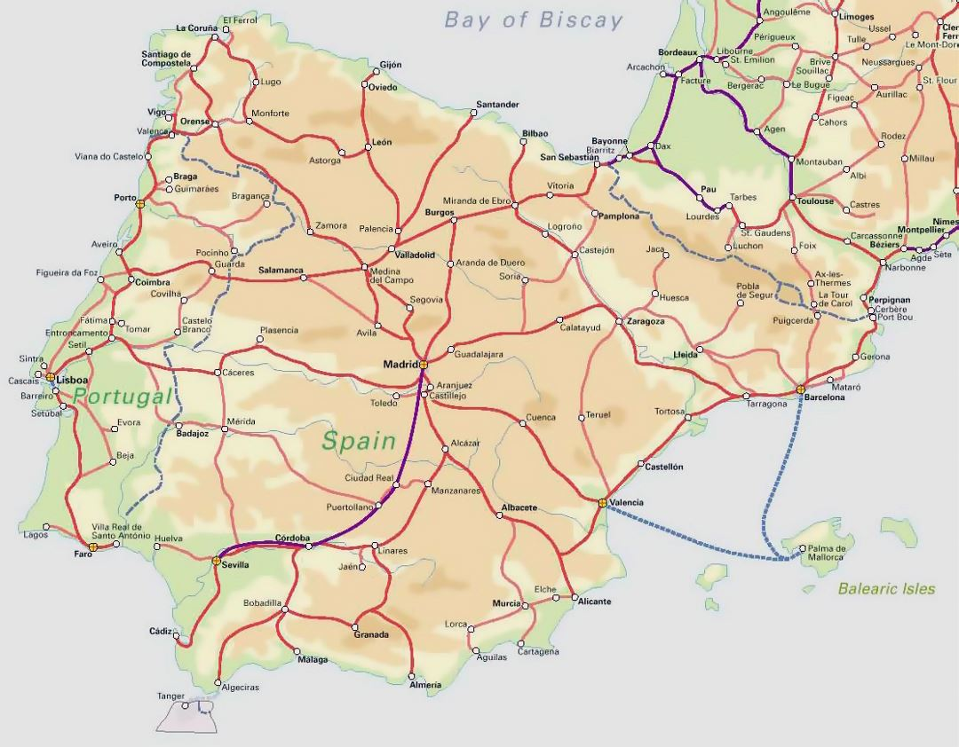 Detailed railroads map of Spain and Portugal