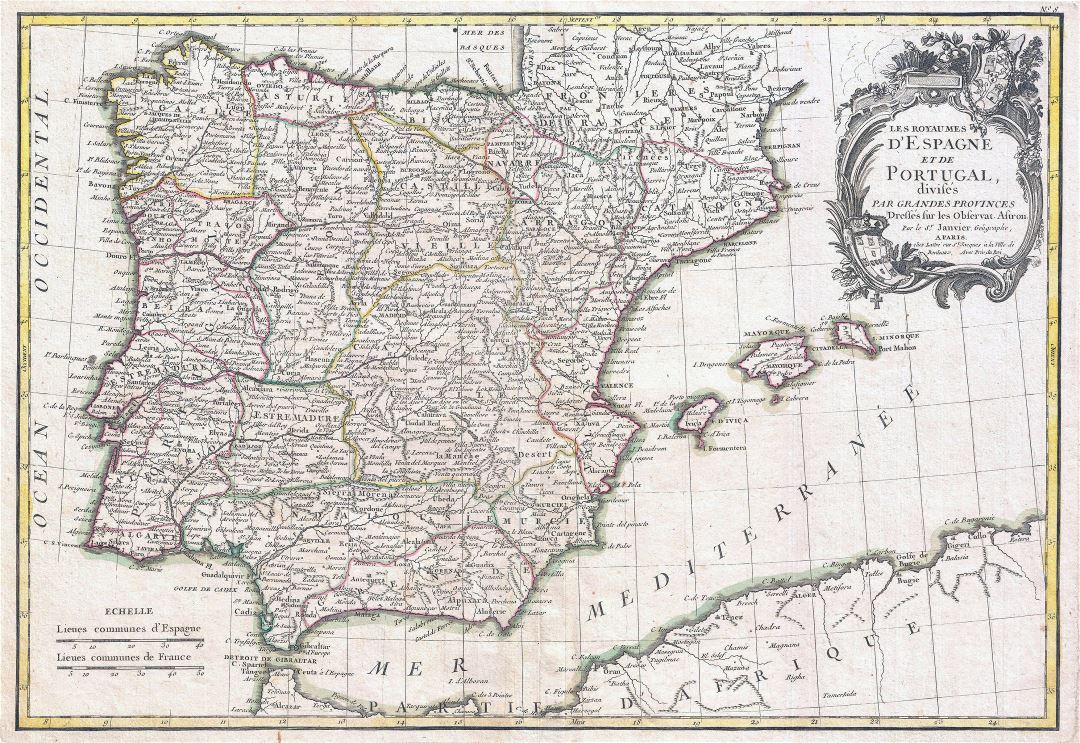 Large detailed old political and administrative map of Spain and Portugal with cities - 1775