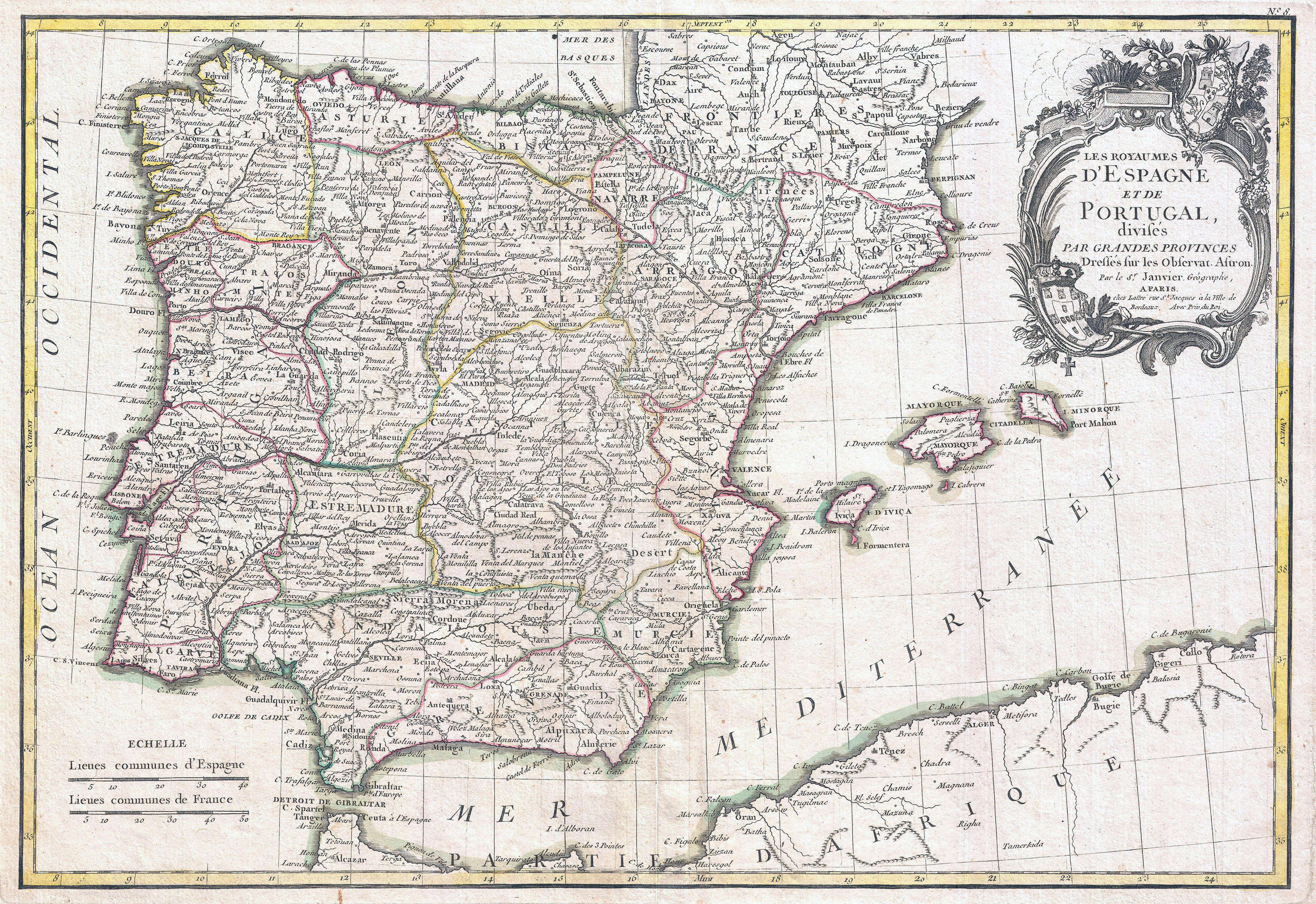 Map Of Spain Old.Large Detailed Old Political And Administrative Map Of Spain And