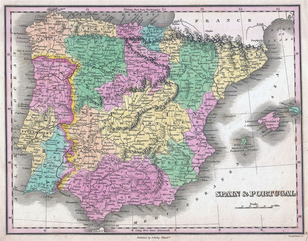 Large detailed old political and administrative map of Spain and Portugal with cities - 1827