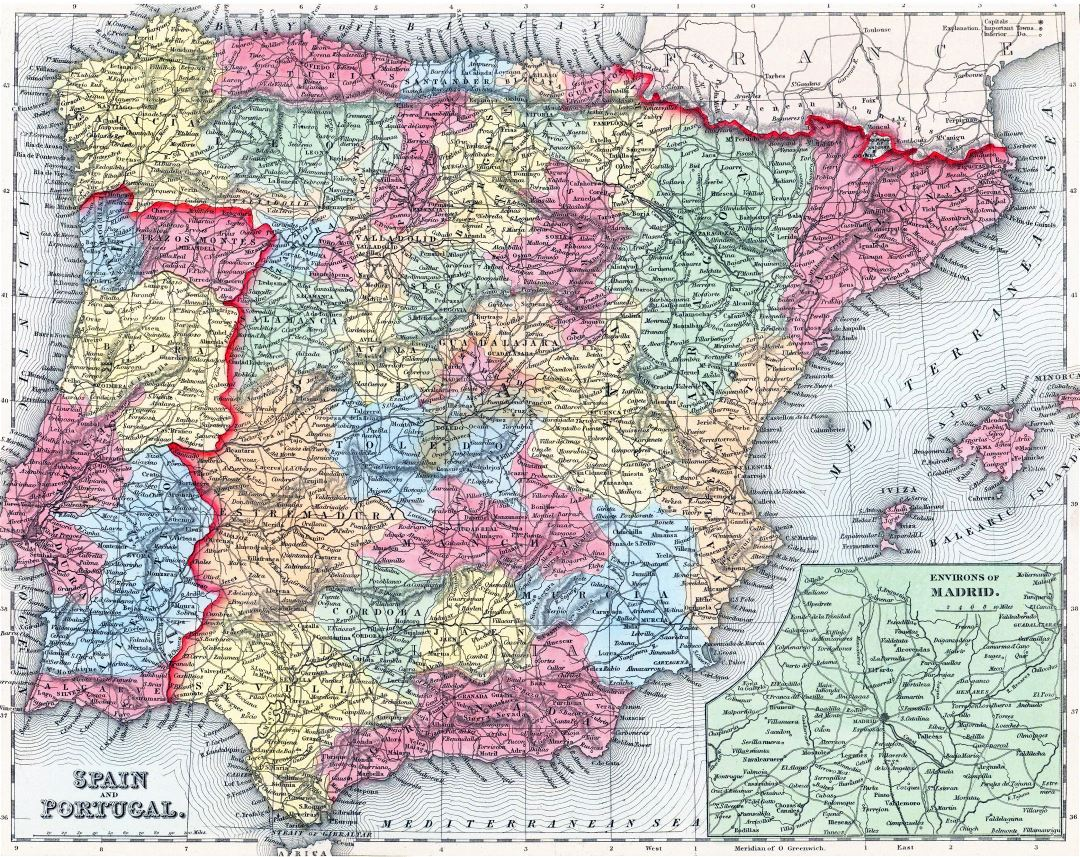 Large detailed old political and administrative map of Spain and Portugal with relief, roads and cities - 1857