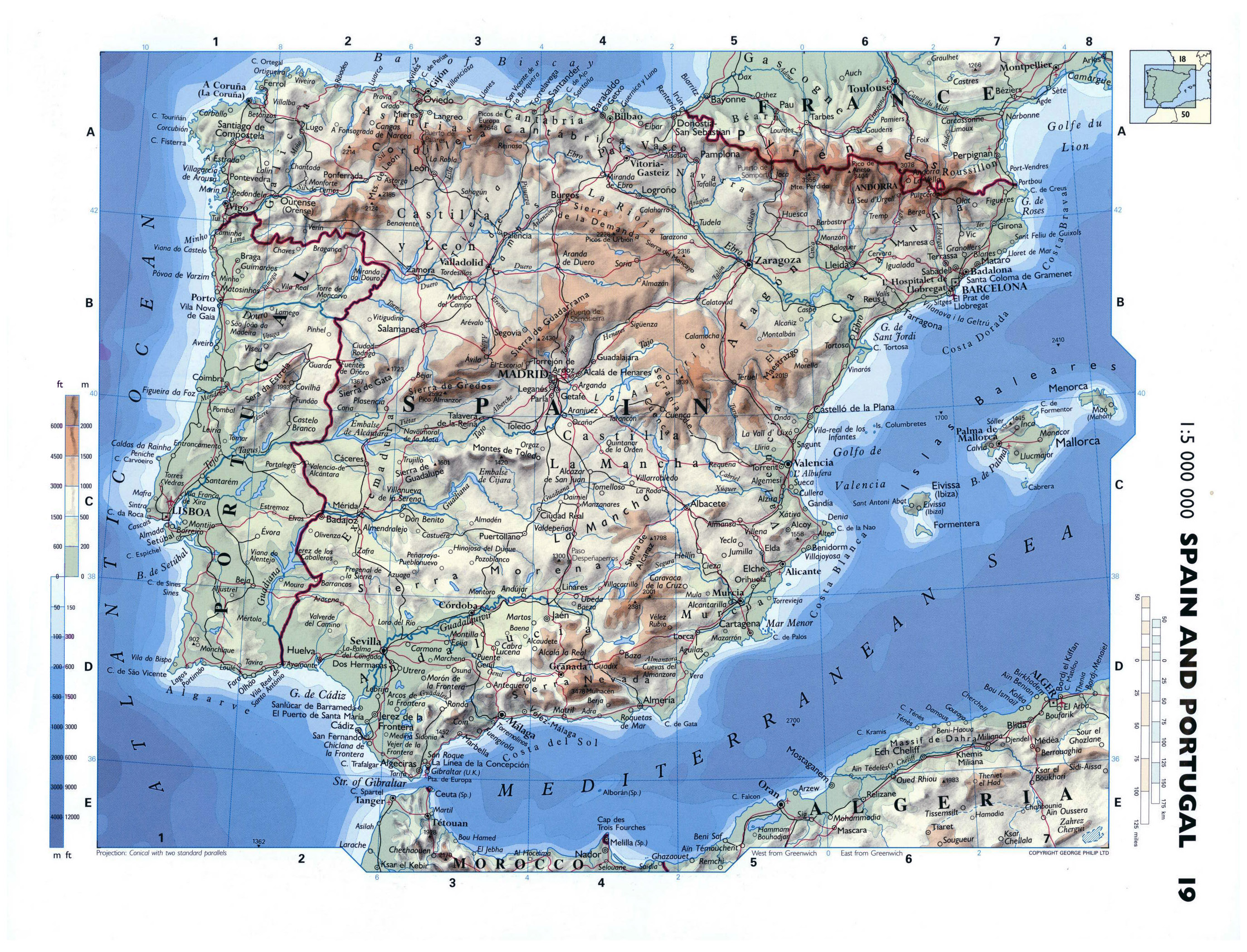 Large detailed physical map of Spain and Portugal with roads cities
