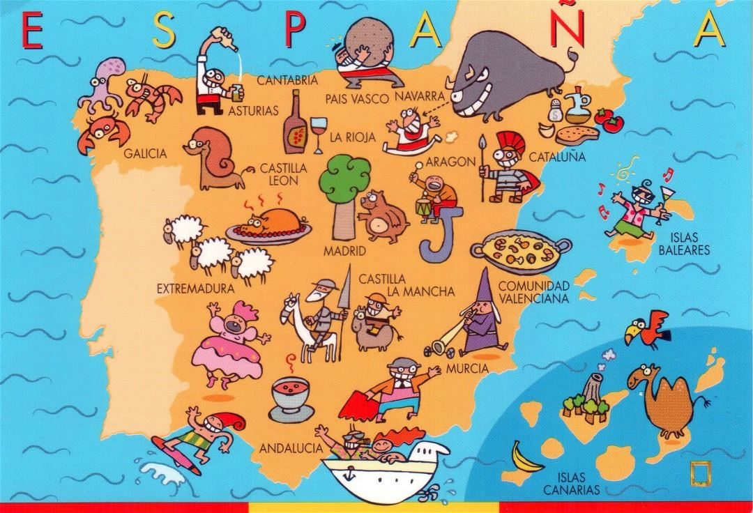 Large fun map of Spain