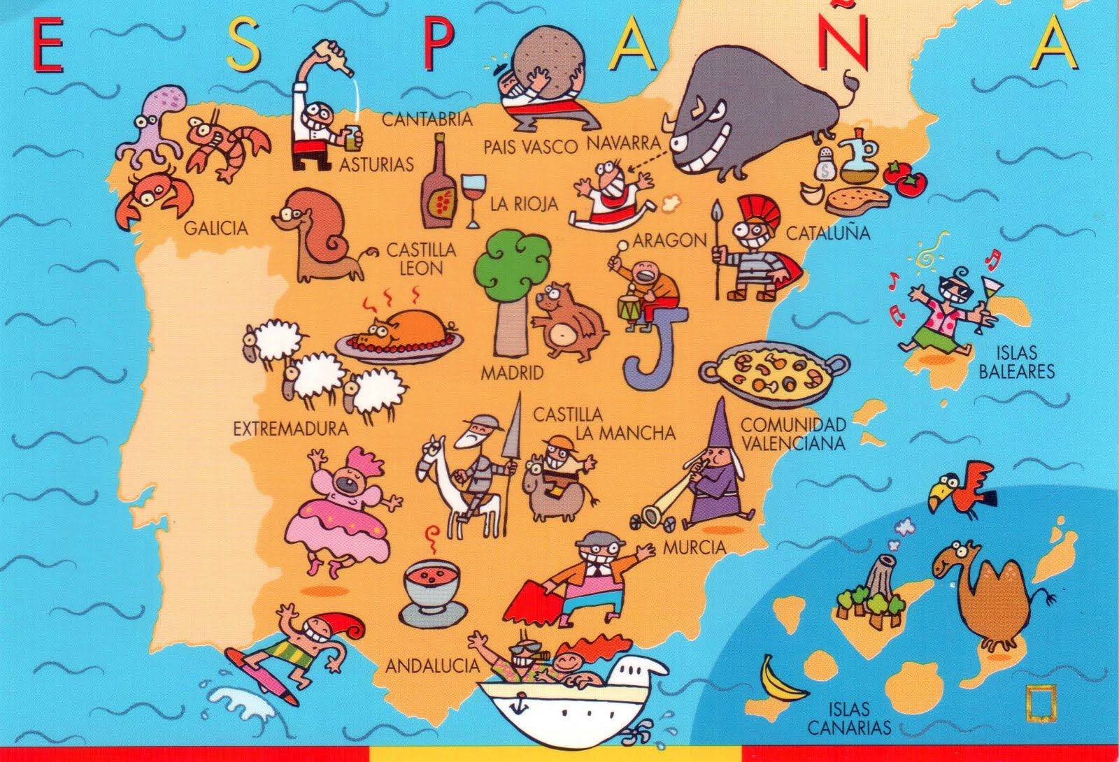 Large fun map of Spain  Spain  Europe  Mapsland  Maps of the World