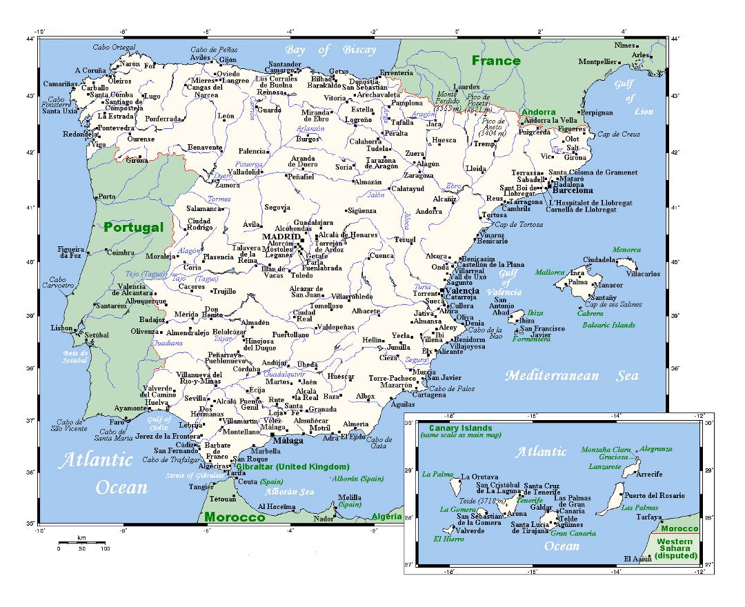 Maps of Spain | Collection of maps of Spain | Europe | Mapsland ...