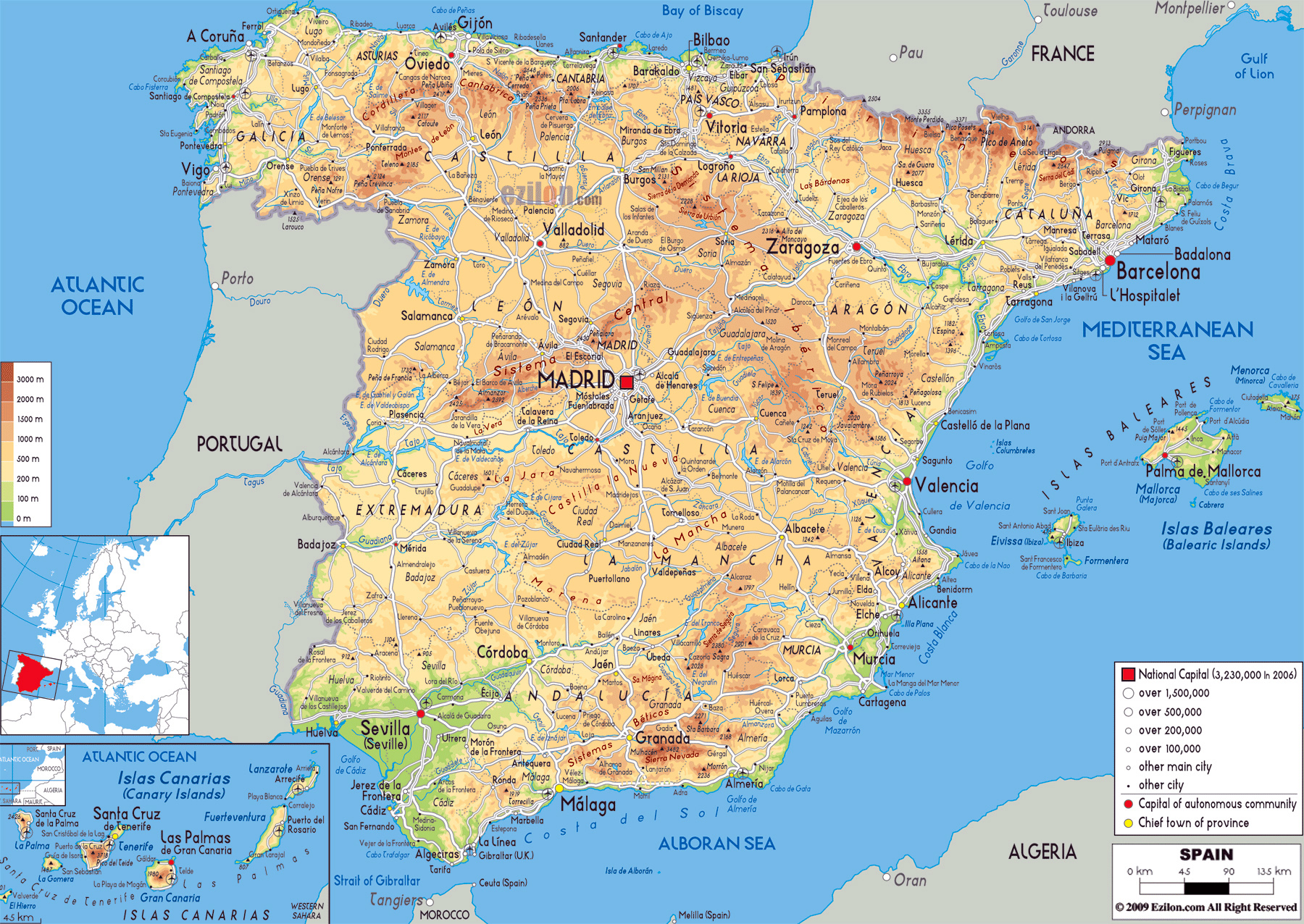 Map Of Spain With Airports.Large Physical Map Of Spain With Roads Cities And Airports Spain